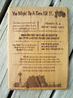 You Might Be A Farm Kid If, Laser Engraved Wood Plaque, HIckory, Rustic