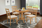 "36"" ROUND TABLE DINETTE KITCHEN DINING ROOM CHAIR SET SOFT-PADDED  SEAT IN OAK"