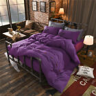 Solid Purple King Single Double Size Quilt Doona Duvet Cover Sets Bed Pillowcase