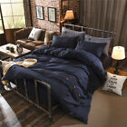 Navy Blue King Single Double Size Quilt Doona Duvet Cover Sets Bed Pillowcases
