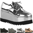 Womens Ladies Wedge Platform Flat Lace Up Goth Punk Creepers Brogues Shoes Size