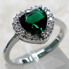 EXQUISITE HEART 2 CT EMERALD 925 STERLING SILVER RING SIZE 5-10