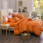 Orange King Single Double Size Quilt Doona Duvet Cover Sets Bed Pillowcase Solid