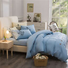 Blue King Single Double Size Quilt Doona Duvet Cover Sets Bed Pillowcases Solid