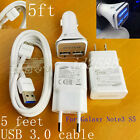 original 5ft usb 3.0 cable LED fast car wall charger for Samsung galaxy Note3 S5