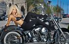 Harley Davidson And Woman  24inx42in HD Art Poster Canvas/Satin