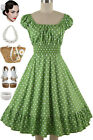 50s Style AVOCADO Green POLKADot PLUS SIZE Peasant Top On/Off The Shoulder Dress
