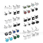 4 Pairs Men's Classic Stainless Steel Sleeve Button Cufflinks For Business Shirt