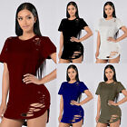 5 Colors Women Casual Loose Holes Blouse Short Sleeve Dress T-Shirt Tops S-XL