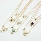 Fashion Gold Plated Turquoise/Pearl/Quartz Flowers Three Layers Pendant Necklace