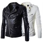 New Men's Fashion Jackets Collar Slim Motorcycle Leather Jacket Coat Outwear Hot