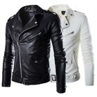 New Men\'s Fashion Jackets Collar Slim Motorcycle Leather Jacket Coat Outwear Hot