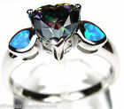 Rainbow Topaz and Blue Fire Opal Inlay 925 Sterling Silver Ring size 6-9