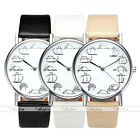 Casual Cute Cat Dials PU Leather Strap Silver Case Quartz Analogue Watches