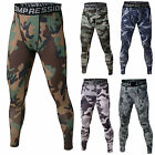 Men Print Trousers Fitness Compression Base Under Layer Pants Gym Running Tights