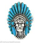 925 Silver Indian Chief  Men's Ring Sleeping Beauty Turquoise Inlay Sz 10-13