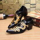 Retro Men's Chinese Dragon Suede Formal Dress Shoes Cuban Heel Pointed Toe Heels