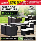 NEW 9PC PERFECT OASIS WICKER OUTDOOR DINING SET Rattan Sofa Lounge Chairs Table