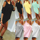 New Women Cold Shoulder Short Sleeve Casual Loose Tunic Top Blouse T-Shirt Dress