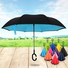 Double Layer Inside-Out Reverse Folding Windproof Umbrella C-Handle 10 Colors