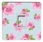 SHABBY CHIC PINK / RED ROSE light switch sticker, cover, decal (10 image choice)