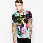 HOT Men's Casual Creative Colorful Skull 3D Print Short Sleeve Tops T-shirt Tee