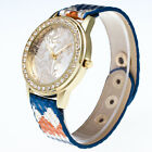 Fashion Women Flower Leather Watch Luxury Lady Analog Quartz Steel Wrist Watch