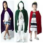 Child Kids Girl Boy Hooded Velvet Cape Cloak Halloween Fancy Dress Robe Costume