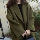 Womens Wool Blend Loose Vintage Coat Fashion Thicken Jacket Long Overcoat Trench