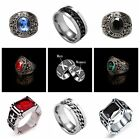 Retro Men Women Silver Stainless Steel Black Crystal Red Ruby Couple Band Ring