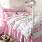 Girls Pink FLoral Korean Bedskirt Single/Queen/King Quilt Doona Duvet Cover Set
