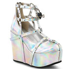 """5"""" Wedge Platform Gothic Punk Silver Hologram Cage Boots Booties w/ Heart Locket"""