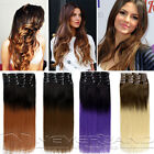 """Lady 24"""" 60cm Ombre Clip In Hair Extensions 9pcs 18 Clips Full Head Hairpiece AU"""