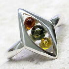 STYLISH MULTI COLOR BALTIC AMBER 925 STERLING SILVER RING SIZE 5-10 image