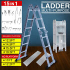 11/12.2/12.5/14.5/15.5/19.5FT Multi Purpose Aluminum Folding Ladder Extendable