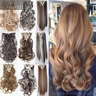 Clip In Real Human Made Hair Extensions Full Head Long Straight Black Blonde SN