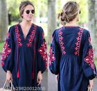ZARA BLUE EMBROIDERED LONG DRESS SIZE M L XL REF 6895 253