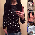 New Women's Cotton Long Sleeve Star T-shirt Casual Loose Tops Blouse T-Shirts