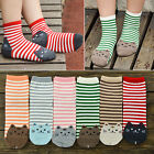 """1 Pair 3D CAT FACE Striped Girls/Ladies Cotton 10"""" ANKLE Socks Choice of Color"""