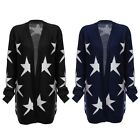 Trendy Women Collarless Star Print Knitted Cardigan Open Front Long Outwear Coat
