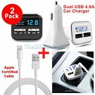 Apple Certified Lightning USB Cable+Dual USB 4.8A Car Charger For iPhone 7 7Plus
