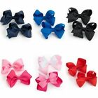 2 PACK HAIR BOW GIRLS CLIPS SCHOOL RIBBON 4 INCH HANDMADE SLIDES ACCESSORY  NWT