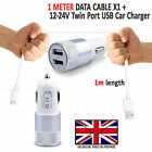 2 IN 1 LED USB CAR CHARGER & FAST CHARGING CABLE LEAD FOR BLACKBERY HANDSETS