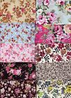 Fat Quarter Single Floral designs 100% Cotton Fabric Quilting Patchwork ~Choices