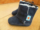 MARKS AND SPENCERS NAVY BLUE LEATHER SUEDE FURRY LINED STAR DETAIL BOOTIES BOOTS