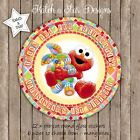 SESAME ST BABY ELMO PERSONALISED ROUND CIRCLE GLOSS PARTY STICKERS X 12