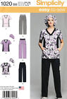 Simplicity 1020 BB PATTERN ONLY Scrubs Pants Tops & Hat  US size W20-W28 Large