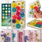 For iPhone 8 Real Dried Pressed Flowers Case TPU Transparent Cover 7 6s 6 SE XS