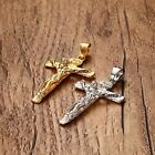 Women Stainless Steel Gold Silver Jesus Crucifix Cross Pendant Necklace Chain