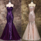 SPARKLY SEQUINED EVENING WEDDING LONG FORMAL PROM GOWN MERMAID FISHTAIL DRESSES
